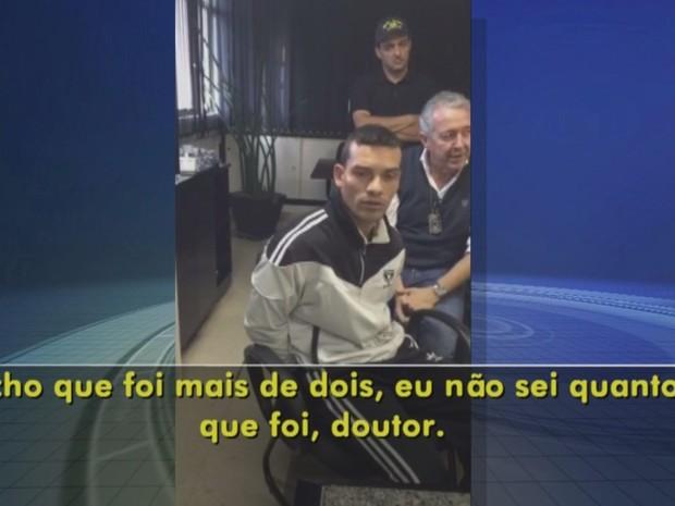 Suspeito prestou depoimento em São Paulo (Foto: Reprodução/ TV TEM)