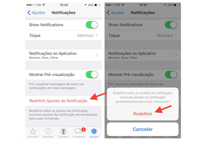 Redefinindo os ajustes de notificações para todas as conversas do WhatsApp para iPhone (Foto: Reprodução/Marvin Costa)