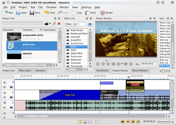 KDEnlive é um bom editor de vídeos, com recursos avançados (Foto: Reprodução/Teresa Furtado)