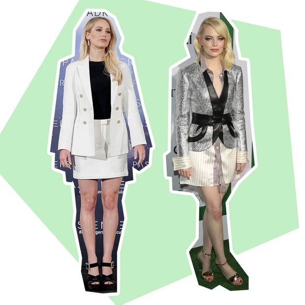 Blazer: Jennifer Lawrence + Emma Stone (Foto: Reprodução e Getty)