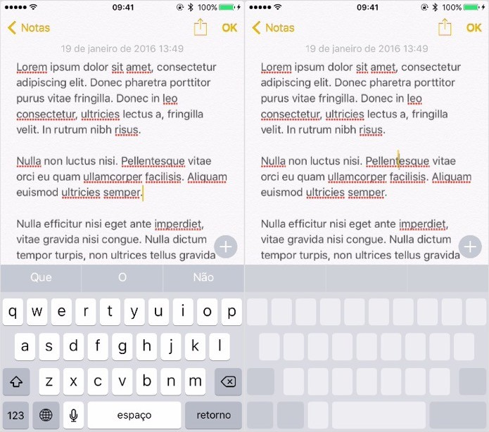 Ativando o trackpad para selecionar textos rapidamente (Foto: Reprodução/Helito Bijora)