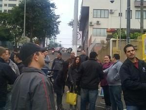 Trabalhadores aderiram à greve em Joaçaba (Foto: Sintravasc/Divulgação)