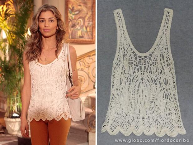 Blusa de renda usada por Ester é a peça chave para três looks diferentes (Foto: Flor do Caribe / TV Globo)
