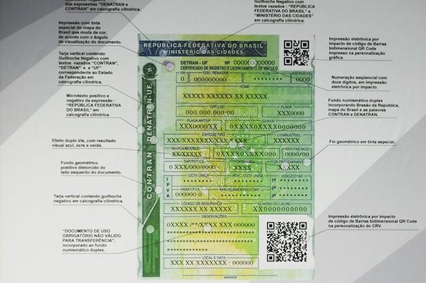 Novo Certificado de Registro de Veículo, que entrará em vigor a partir de 2015 (Foto: Agência Brasil)