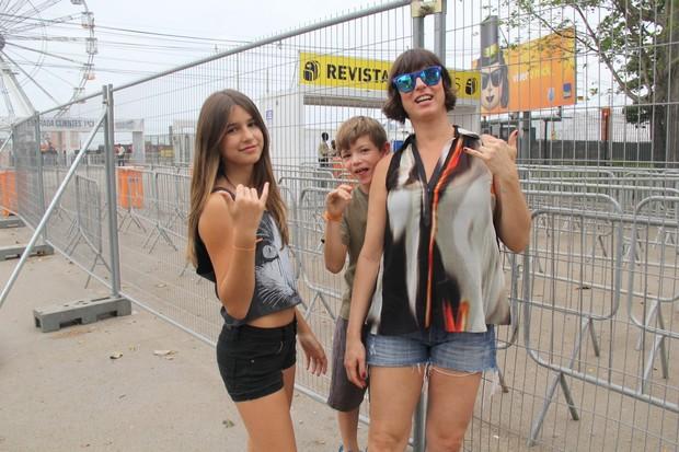 Maria Paula com os filhos Felipe e Maria Luiza no Rock in RIo (Foto: Rogério Fidalgo/ Ag. News)