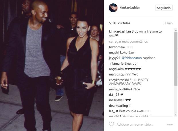 Kim Kardashian e Kanye West (Foto: Reprodução / Instagram)