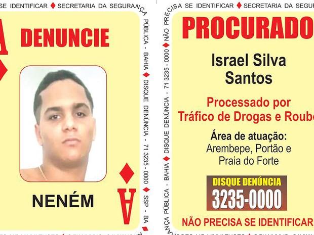Israel é o novo Ás de Ouro do Baralho do Crime da Bahia (Foto: SSP-BA / Divulgação)