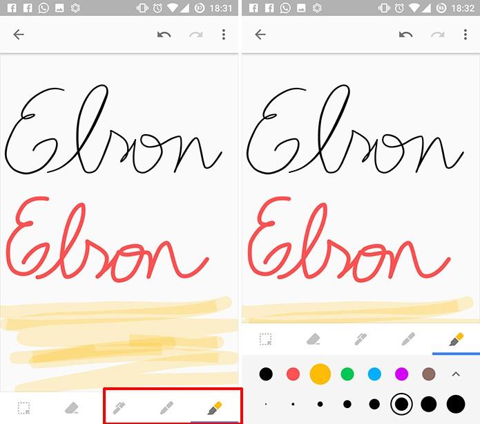 Google Keep tem três diferentes tipos de canetas (Foto: Reprodução/Elson de Souza)