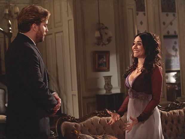 Catarina quer mais luxo em seu espetáculo e pede dinheiro a Edgar (Foto: Lado a Lado / TV Globo)
