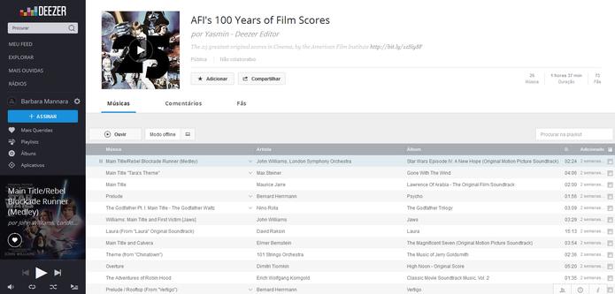 Deezer oferece playlist com as 25 trilhas sonoras de todos os tempos (Foto: Reprodução/Barbara Mannara)