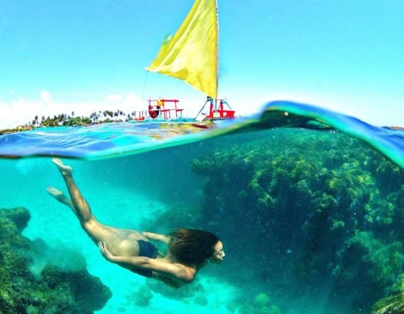 Ego sheron menezzes mostra foto de mergulho em porto de for Piscina de peces