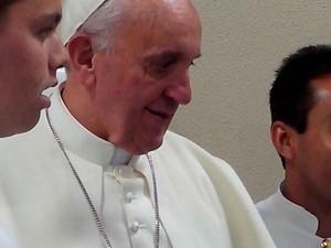Papa durante almoço no Seminário Bom Jesus (Foto: Luiz Fernando Miguel/Arquivo Pessoal)
