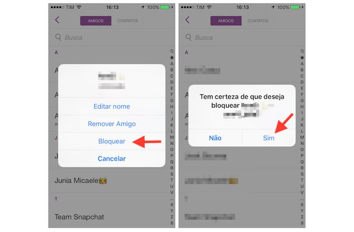 Iniciando a configuração para bloquear um contato no Snapchat (Foto: Reprodução/Marvin Costa)