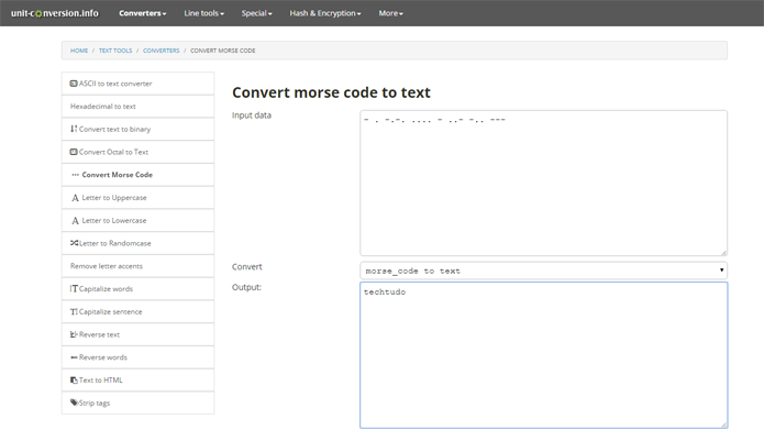 Conversor pode transformar texto normal para código Morse rapidamente (Foto: Reprodução/Unit Conversion)