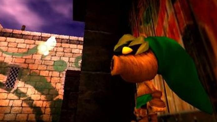 Em sua forma de Deku Scrub o herói Link perde algumas habilidades e ganha outras (Foto: Daily Motion)
