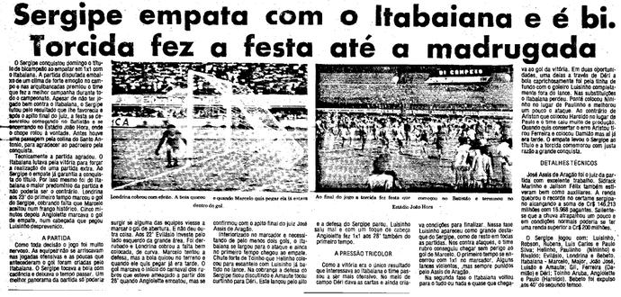 Sergipe x Itabaiana - Final de 1985 (Foto: Reprodução/Gazeta de Sergipe)