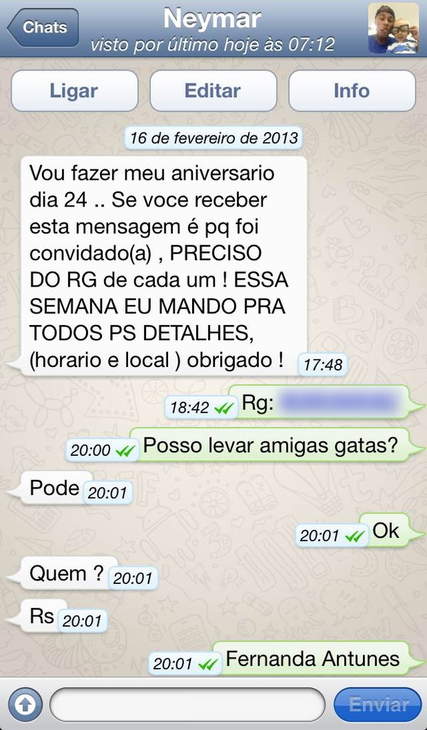Neymar mensagem celular (Foto: Arquivo Pessoal)
