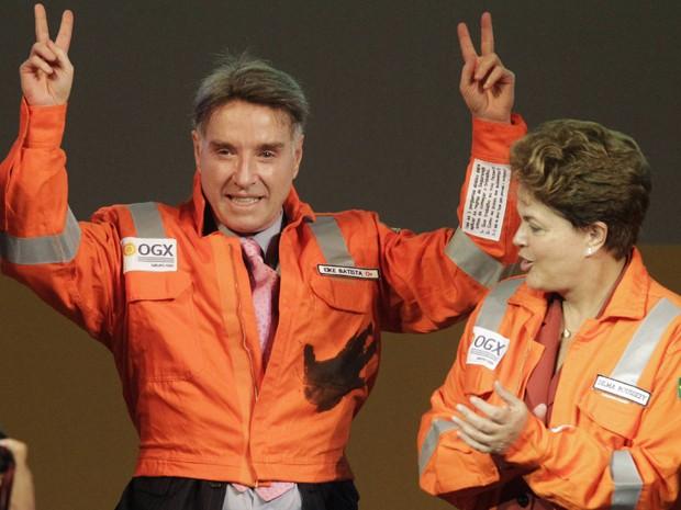 Em imagem de arquivo, Eike Batista comemora com a presidente Dilma Rousseff o início da produção da OGX (Foto: Reuters)