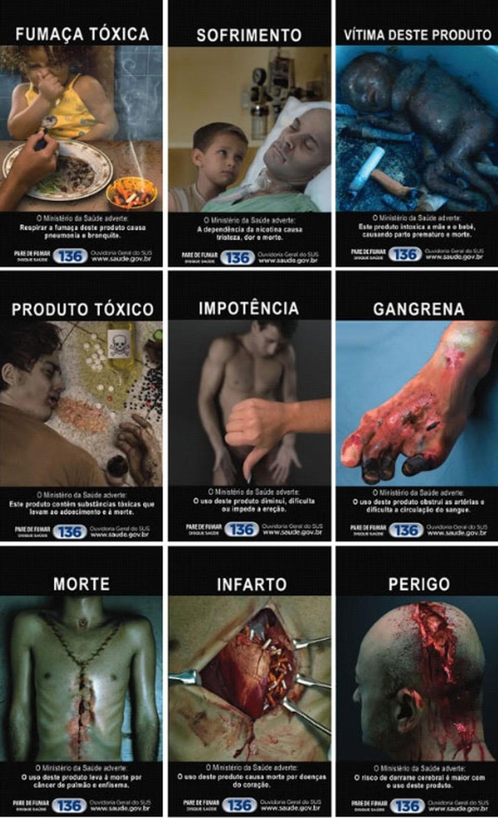 Imagens de alerta nos maços de cigarro vigentes desde 2013 (Foto: Divulgação/Anvisa)