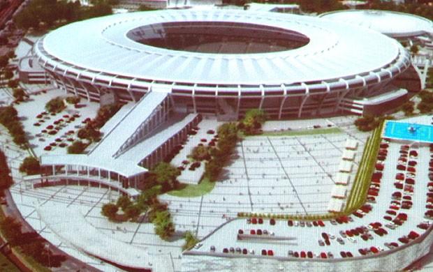 projeto complexo do Maracanã obras Copa 2014 (Foto: Marcelo Baltar / Globoesporte.com)