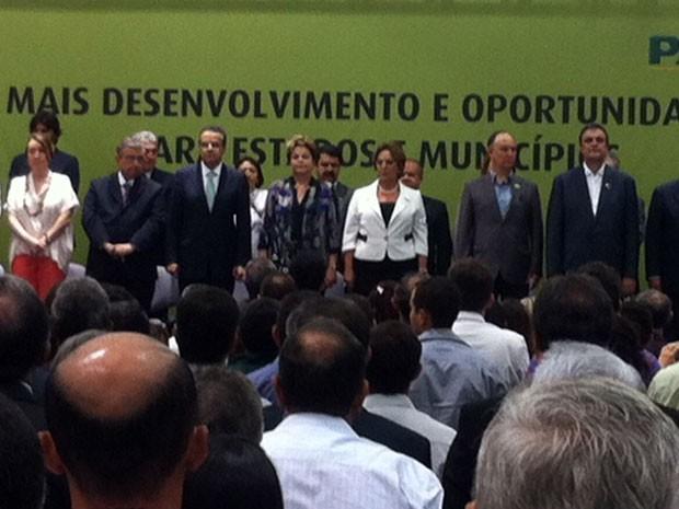 Dilma Rousseff participou de solenidade no Centro Administrativo, em Natal (Foto: Fernanda Zauli/G1)