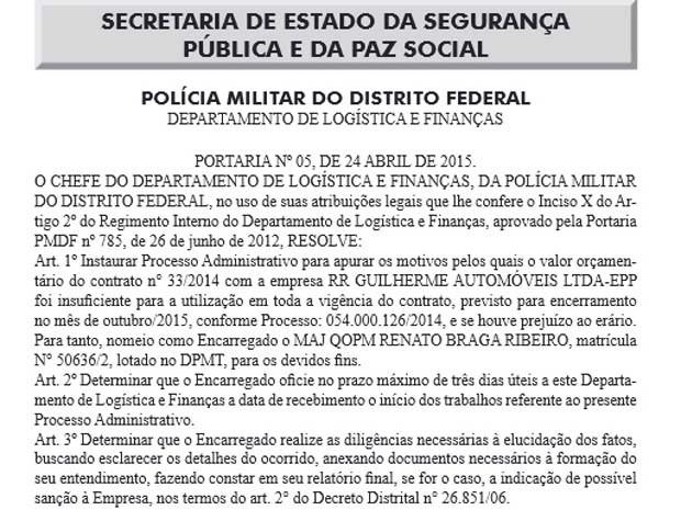 Portaria publicada no Diário Oficial do DF com a abertura do processo administrativo (Foto: Reprodução)