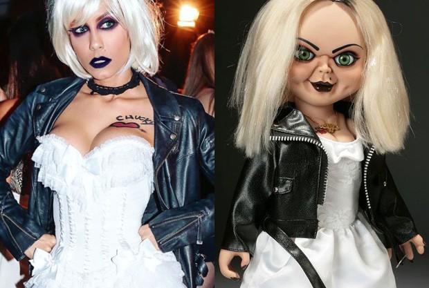Lia Khey se veste como a noiva de Chucky (Foto: Reprodução)