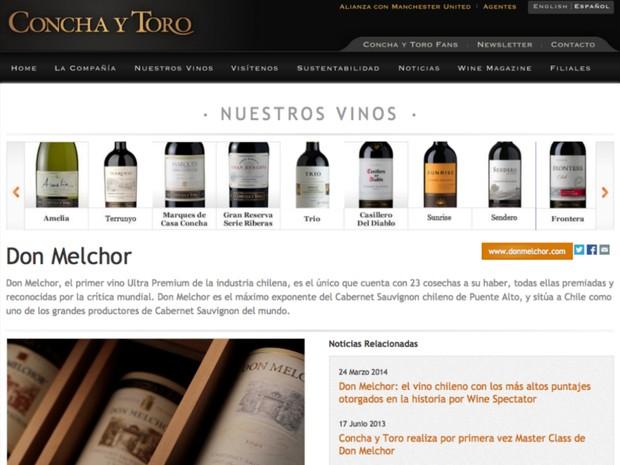 """Site da vinícola Concha Y Toro sequer demonstra o vinho """"Reservado"""" (Foto: Reproduçao / Internet)"""