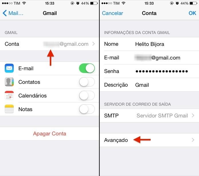 Abra as configurações de e-mail (Foto: Reprodução/Helito Bijora)