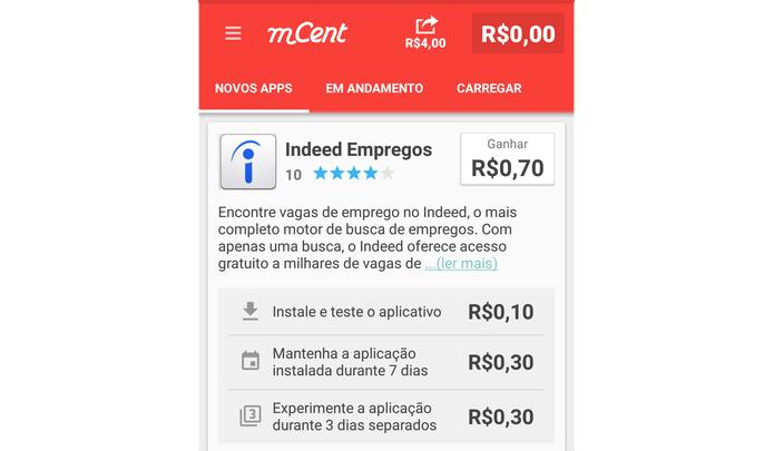 mCent paga a cada instalação e teste de apps no celular (Foto: Reprodução/Paulo Alves)