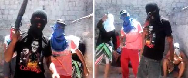 Vídeo mostra seis rapazes armados; o de camiseta preta, que segura uma espingarda, foi assassinado no último dia 10, segundo a polícia (Foto: Divulgação/Polícia Militar do RN)