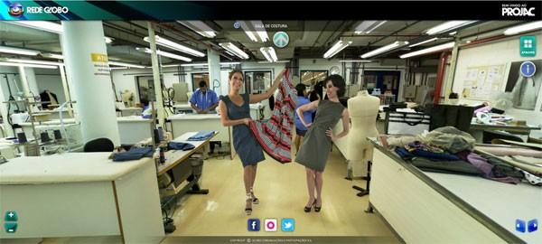 Andrea Beltrão e Fernanda Torres apresentam a sala de costura do Projac (Foto: Divulgação / TV Globo)