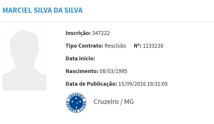 Rescisão de Marciel com o Cruzeiro foi pubicada no BID da CBF (Foto: Reprodução/Internet)