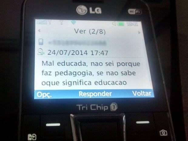 Imagem da mensagem recebida pela estudante no último dia 25 de julho.  (Foto: Marcela Dantas/Arquivo pessoal)