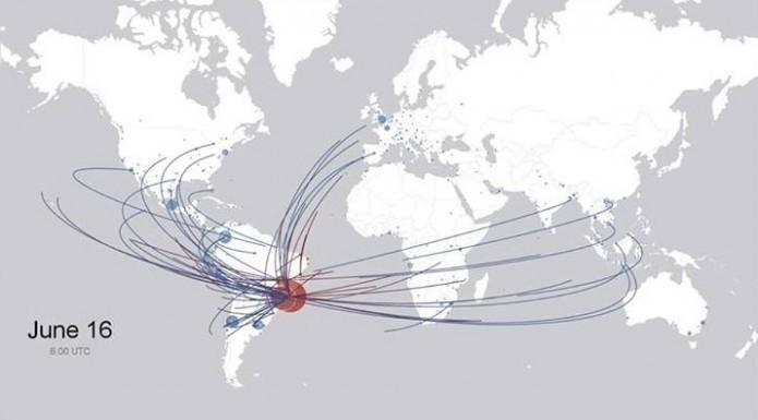 Desenho mostra de onde saíram os turistas estrangeiros para visitar as sedes da Copa no Brasil (Foto: Reprodução/Facebook)