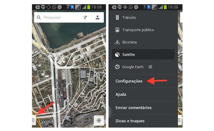 Acessando as configurações do Google Maps no Android (Foto: Reprodução/Marvin Costa)