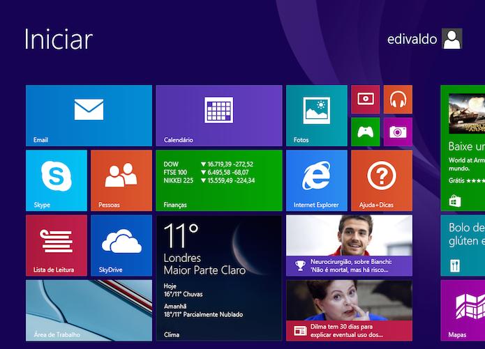Windows 8 eliminou o botão e o Menu Iniciar e trouxe a tela Iniciar (Foto: Reprodução/Edivaldo Brito)
