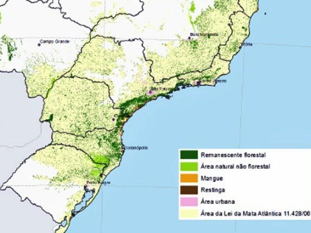 Pontos verdes no mapa mostram áreas de floresta da Mata Atlântica que ainda estão em pé no Brasil. Área em amarelo é o total do bioma. Atualmente, restam 8,5% da vegetação original (Foto:  Divulgação/SOS Mata Atlântica/Inpe))