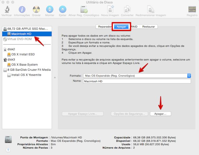 Formatando a partição em que o OS X será instalado (Foto: Reprodução/Helito Bijora)