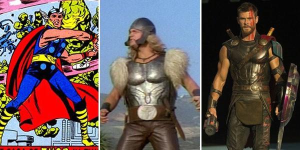 Thor no quadrinhos (1962), na televisão (1988) e cinema (2017) (Foto: Divulgação)