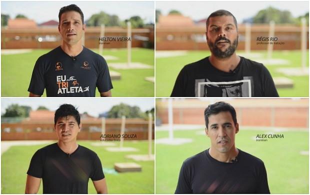 Helton Vieira, Regis Rio, Adriano Souza e Alex Cunha fazem parte da equipe que vai treinar Karina Quadros para o 'Eu Avnetura' (Foto: Globo Esporte)