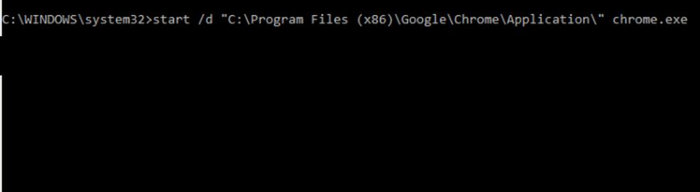 Executando o Chrome diretamente via comando start (Foto: Edivaldo Brito/TechTudo)