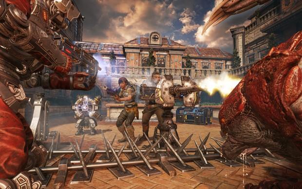 Cena do modo Horda de 'Gears of War 4'. Modo de jogo agora terá 5 classes de personagens (Foto: Divulgação/Microsoft)