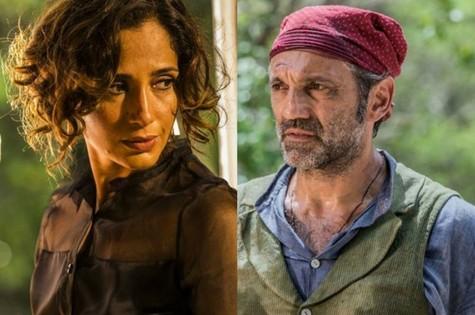 Tereza (Camila Pitanga) e Santo (Domingos Montagner) (Foto:  Inácio Moraes/Gshow e Caiuá Franco/TV Globo)