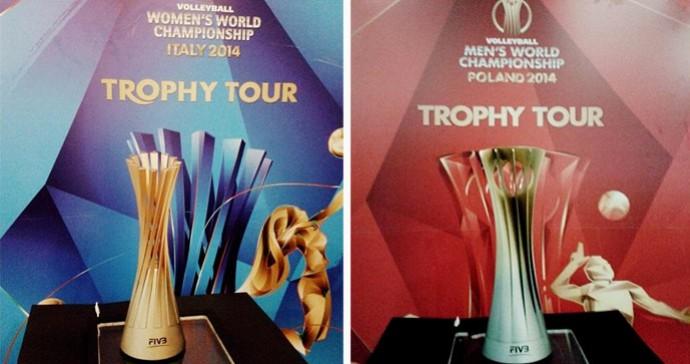 Taças dos Mundiais de Vôlei (Foto: Reprodução/Twitter)