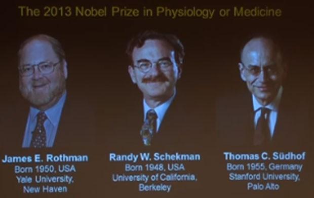 Apresentação dos vencedores de 2013 do Nobel de Medicina ou Fisiologia (Foto: Reprodução/Youtube/Thenobelprize)