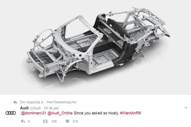 Superesportivo R8 teve a estrutura postada pela Audi em brincadeira no Twitter (Foto: Divulgação)