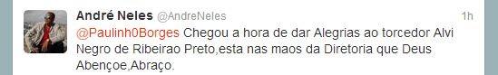 Twitter do atacante André Neles, ex-Botafogo-SP (Foto: Divulgação / Twitter)