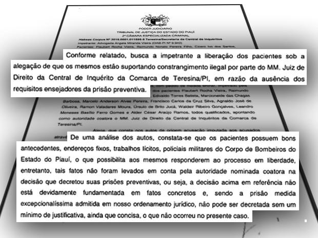 Decisão do Tribunal de Justiça concede habeas corpus a PM's do 'Polícia Legal' (Foto: Reprodução/TJ-PI)