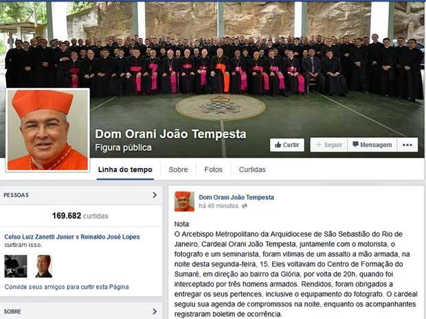 Arcebispo do Rio, cardeal Dom Orani Tempesta, foi vítima de um assalto a mão armada. Ele postou nota em seu perfil no Facebook.  (Foto: Reprodução / Facebook de Dom Orani Tempesta)